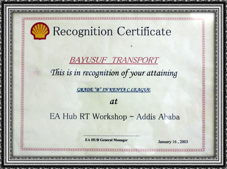 Shell Recognition Certificate